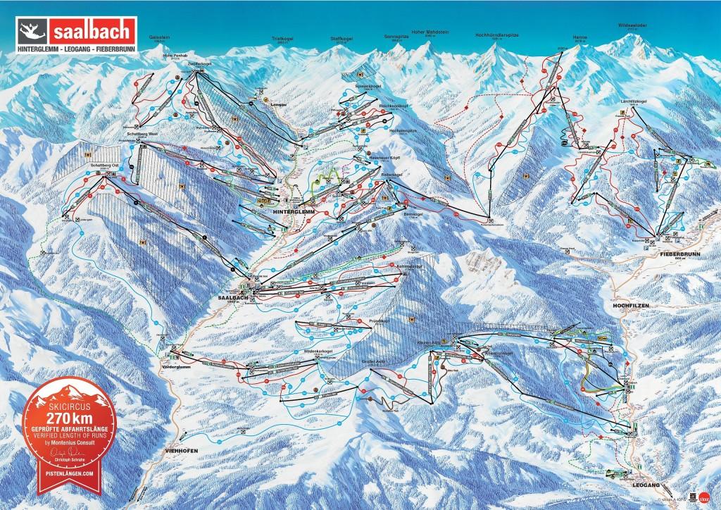 Mapa tras Saalbach Hinterglemm Leogang Fieberbrunn