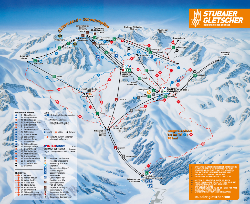 Stubaier Gletscher - mapa tras