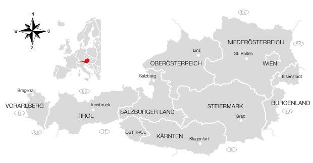 Mapa regionów narciarskich w Austrii