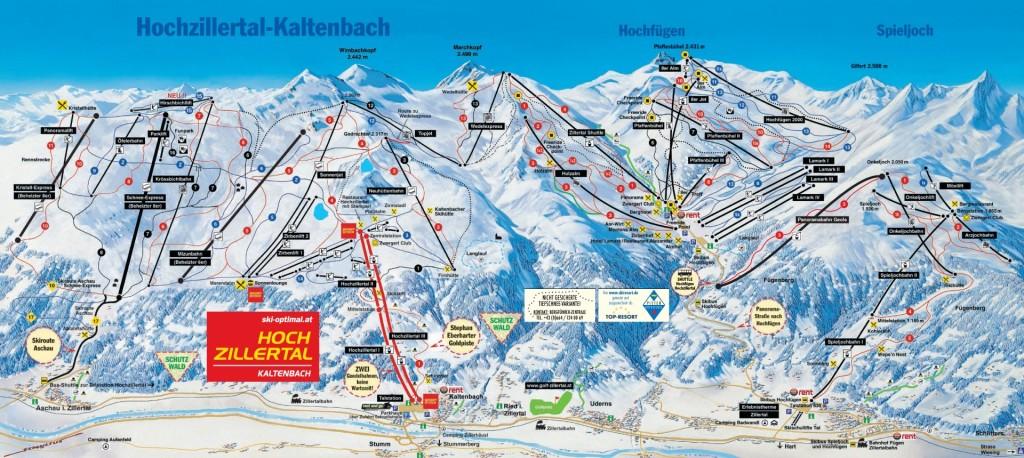 Mapa tras Hochzillertal Hochfügen