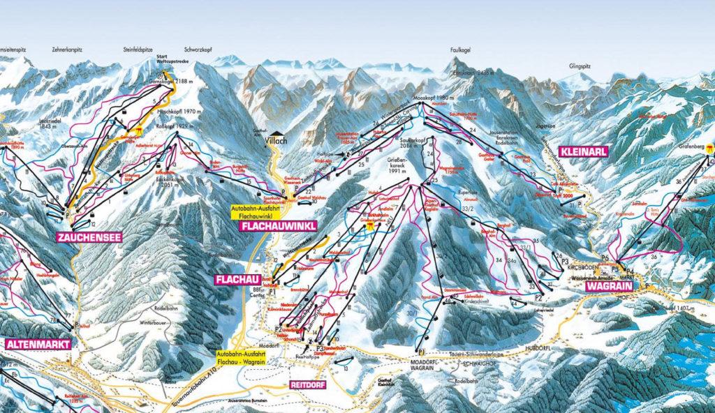 Zauchensee Flachau Flachauwinkl Wagrain mapa tras
