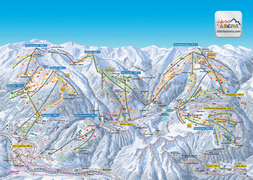 Zillertal Arena mapa tras