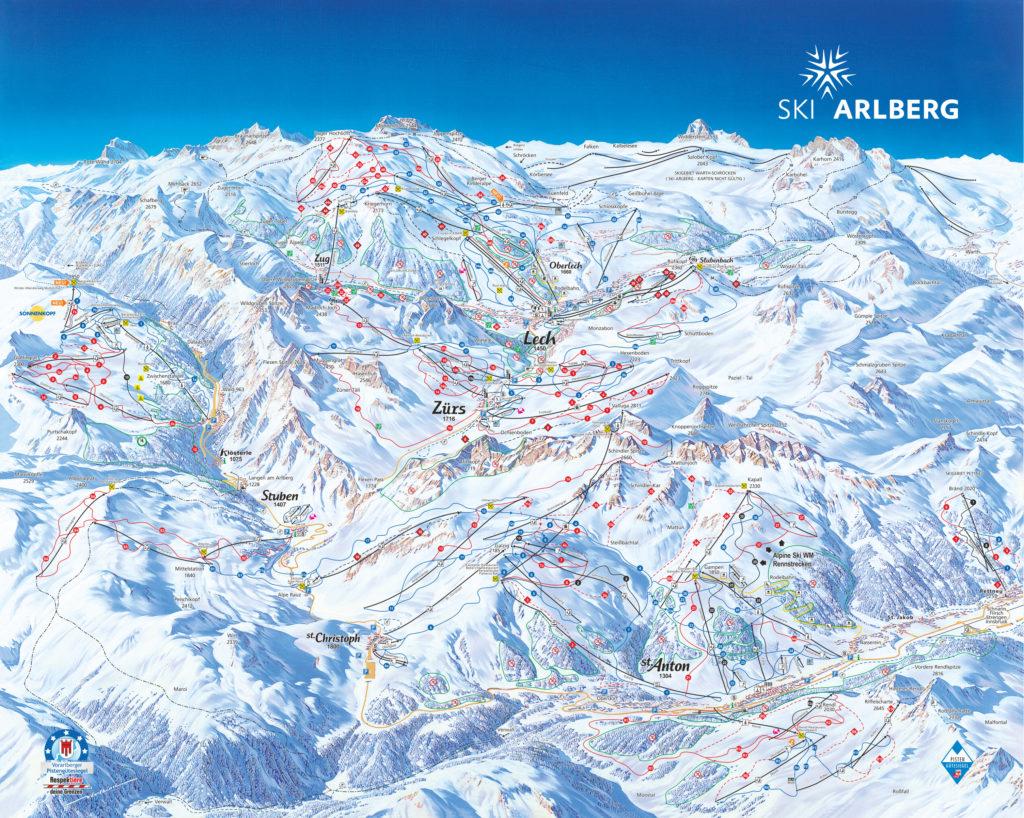 Mapa tras Ski Arlberg