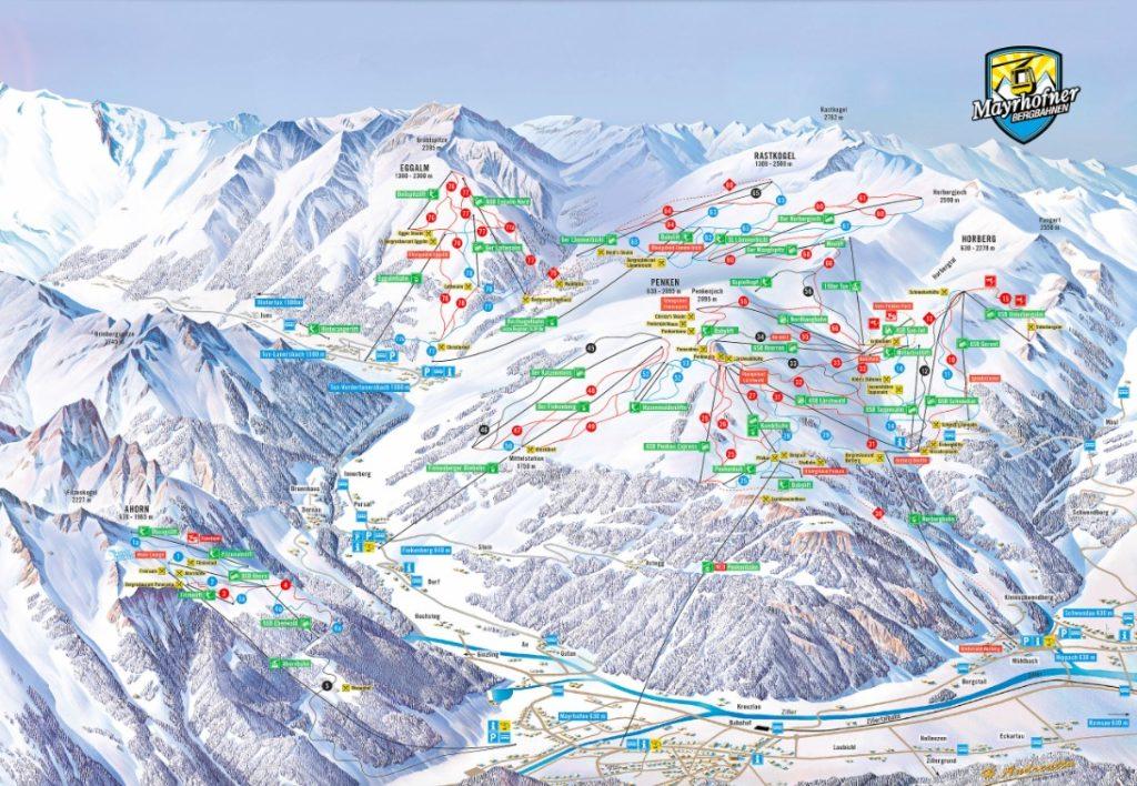 Mayrhofen mapa tras