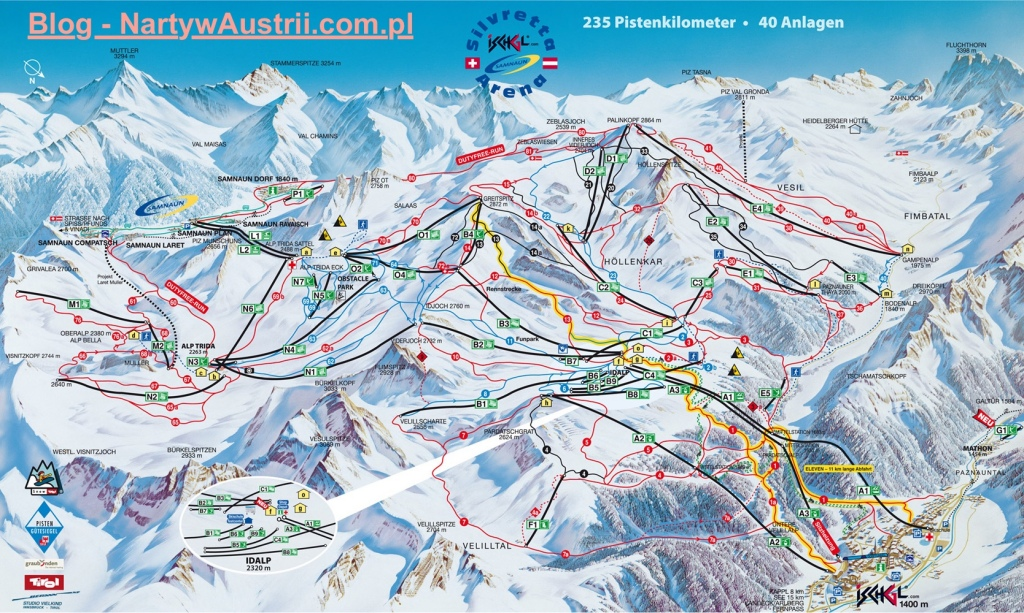 Mapa tras narciarskich w Ischgl