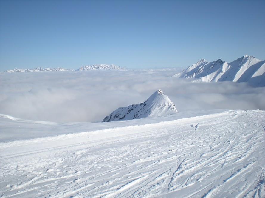 Widok na Kaprun pod chmurami