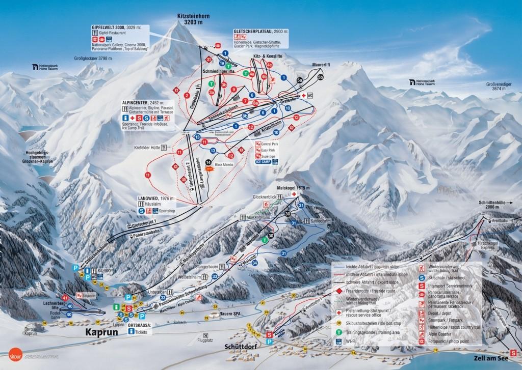 Mapa tras Kaprun Kitzsteinhorn