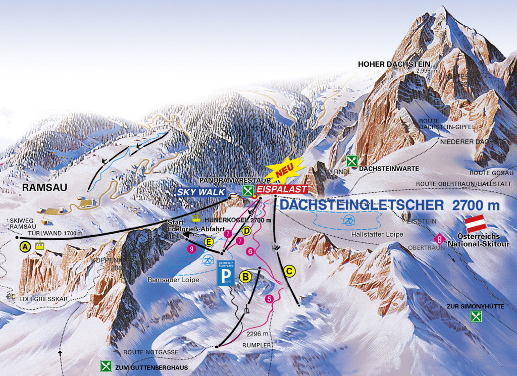 Dachstein Glacier - mapa tras