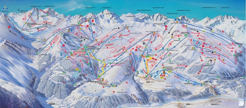 Mapa tras Serfaus-Fiss-Ladis