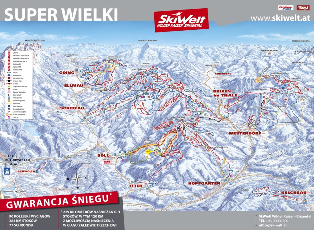 SkiWelt mapa tras