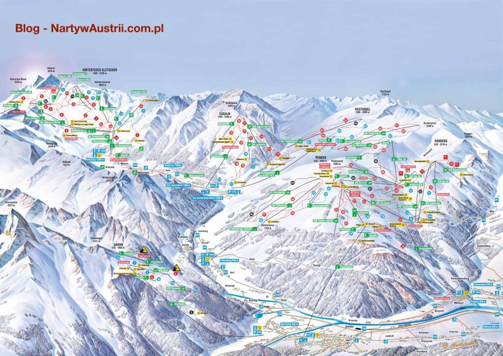 Mayrhofen, Hippach, Finkenberg, Tux - mapa tras