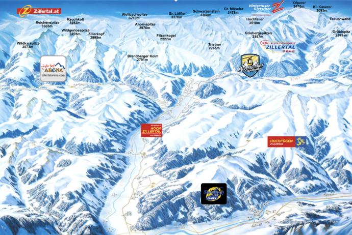 Mapa Zillertal