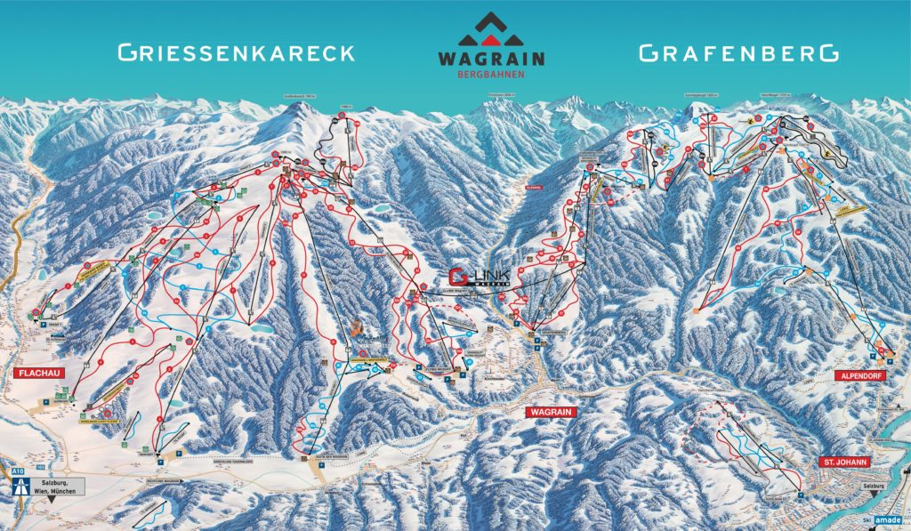Flachau Wagrain mapa tras