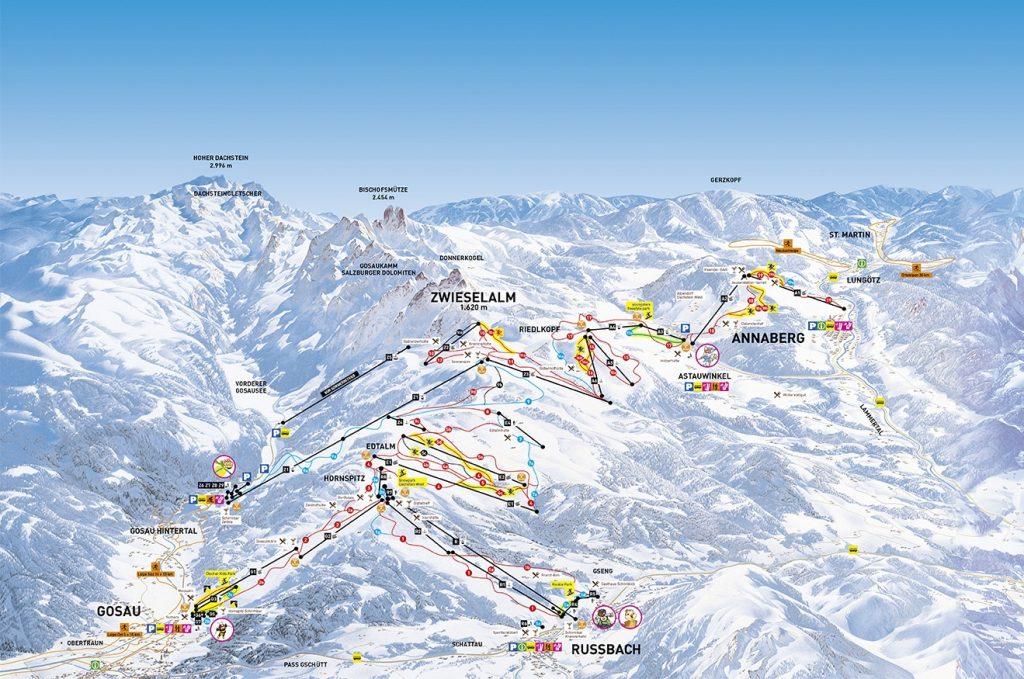 Dachstein West mapa tras